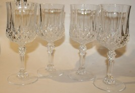 4 CRISTAL D'ARQUES LONGCHAMP CRYSTAL Wine Glasses  7 1/2 oz. Octagonal rim - $19.79