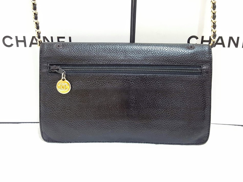 Auth Chanel Timeless Black Caviar Leather Gold Chain Wallet WOC Crossbody Bag image 2