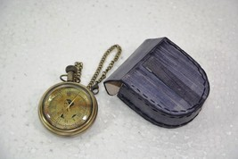 Battery Powered Hand Made Stylist  Pocket Watch With Leather Case Pouch ... - $93.94