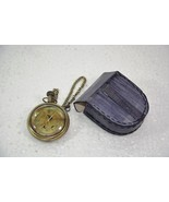 Battery Powered Hand Made Stylist  Pocket Watch With Leather Case Pouch ... - $57.38