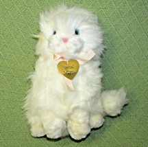1988 Dakin White PERSIAN CAT + Gold Tone MOM Heart Charm Blue Eyes Vinta... - $23.36