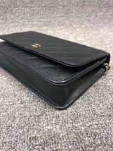 NEW AUTH CHANEL 2019 Black Lambskin WOC Wallet on Chain WOC Bag GHW image 5
