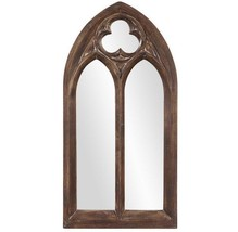 New Salvaged Reclaimed Style Wood Cathedral Victorian Gothic Wall Mirror Arched - $396.80