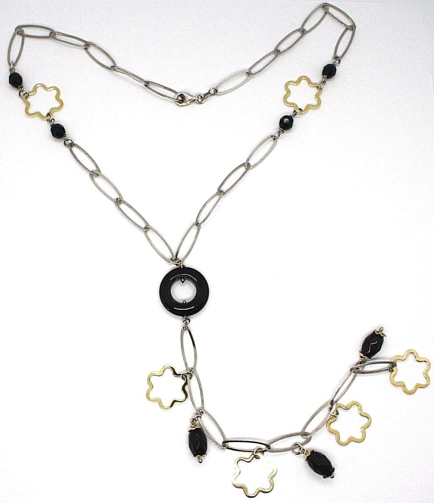 Silver 925 Necklace, Black Onyx, Pendant Flowers, Daisy, Waterfall