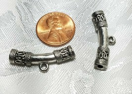 Curved Tube Bail FINE PEWTER DROP LOOP BEAD - 30x11x6mm image 2