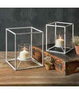 Country SET OF TWO UPTOWN CANDLE STANDS Holder Farmhouse Rustic Primitive - $76.99