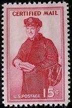1955 15c Postman, Certified Mail Scott FA1 Mint F/VF NH - $0.99