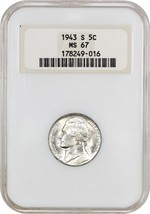 1943-S 5c NGC MS67 (OH) - Jefferson Nickel - $101.85