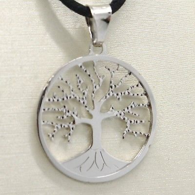 18K WHITE GOLD TREE OF LIFE WORKED PENDANT CHARM MEDAL 0.9 INCHES MADE IN ITALY