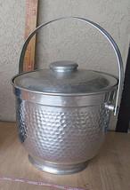 "Vintage mid century Italy ice bucket ""martelé"" modernist design Bauhaus ... - $140.00"