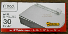"Mead bx of 30  #10 peel & seal white envelopes 4 1/8"" x 9 1/2""  USA seller  - $5.23"