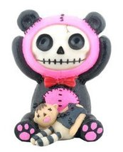Furry Bones Black and Pink Pandie Panda Statue - $8.70