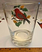 VINTAGE HAND PAINTED SCARLET TANAGER OLD FASHION GLASS West Virginia Glass Spec. image 3