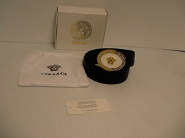 Versace belt Genuine leather Medusa head gold size 100 cm made in Italy new - $351.40