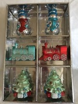 NEW Plastic Shatterproof Christmas Ornaments Set of 6 Train Snowmen Tree... - $17.99
