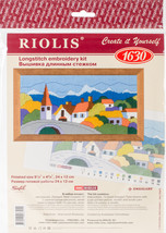 "RIOLIS Stamped Cross Stitch Kit 9.5""X4.75""-Town In The Mountains (13 Count) - $14.14"