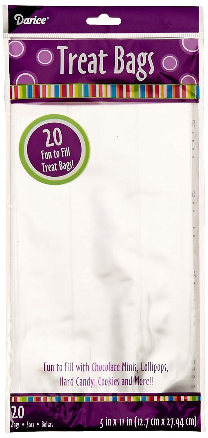Primary image for Darice 20-Piece Treat Bags, 5 by 11-Inch, Clear