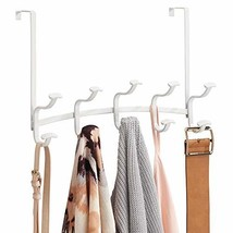 mDesign Decorative Metal Over Door 10 Hook Storage Organizer Rack - for Coats, H