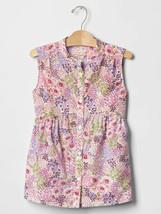 GAP Kids Girls Pink Purple Floral Sleeveless Shirred Cotton Blouse Top 10 - $19.79