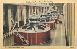 Linen Postcard NV C122 Hoover Boulder Dam Powerhouse Nevada Wing Arizona  - $6.00