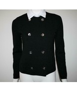 Ralph Lauren Black Cotton Double Breasted Cardigan Jkt SMALL  -NWT- - $128.00