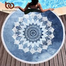 BeddingOutlet Mandala Round Beach Towel Bohemian Vintage Cobalt Blue Tas... - $34.90