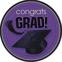 """amscan Flying Colors Graduation Party School Colors Round Plates, 9"""" Purple Tabl - $12.88"""