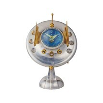 Oofo Radar Table Desk Clock - Chrome - Brass - Vintage Atomic Age - $234.62