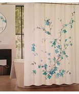 Tahari Printemps 2 Aqua Teal Gray Floral on White Shower Curtain - $36.00