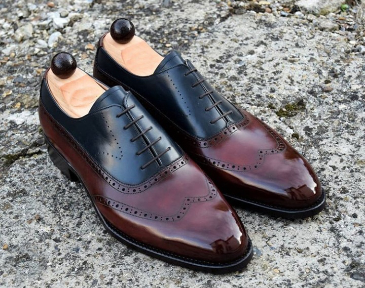 Men Maroon Black Genuine Premium Leather Rounded Toe Oxford LaceUp WingTip Shoes