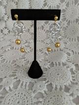Ladies Silver Tone Gold Tone Balls Dangle Pierced Earrings - $2.90