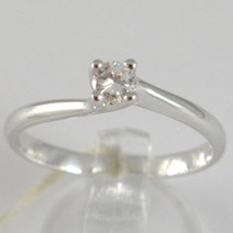 White Gold Ring 750 18K, Solitaire, Braided Rounded, Diamond, CT 0.16 image 1