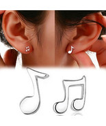 Valentine's Day, Jewelry, 1 Pair Asymmetry Musical Note Silver Plated St... - $4.99