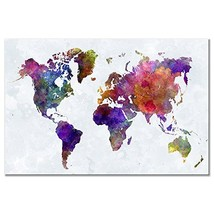 Wieco Art Colorful Vintage World Map Canvas Prints Wall Art Old Pictures Paintin