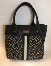 Tommy Hilfiger Purse Black Beige Canvas Fabric Faux Leather Trim Handbag Tote  - $35.00