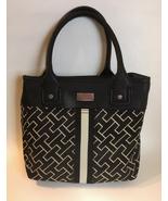 Tommy Hilfiger Purse Black Beige Canvas Fabric Faux Leather Trim Handbag... - $35.00