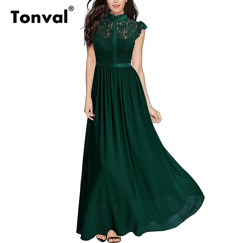 Tonval Vintage Ruffle Elegant Lace Maxi Dress Women