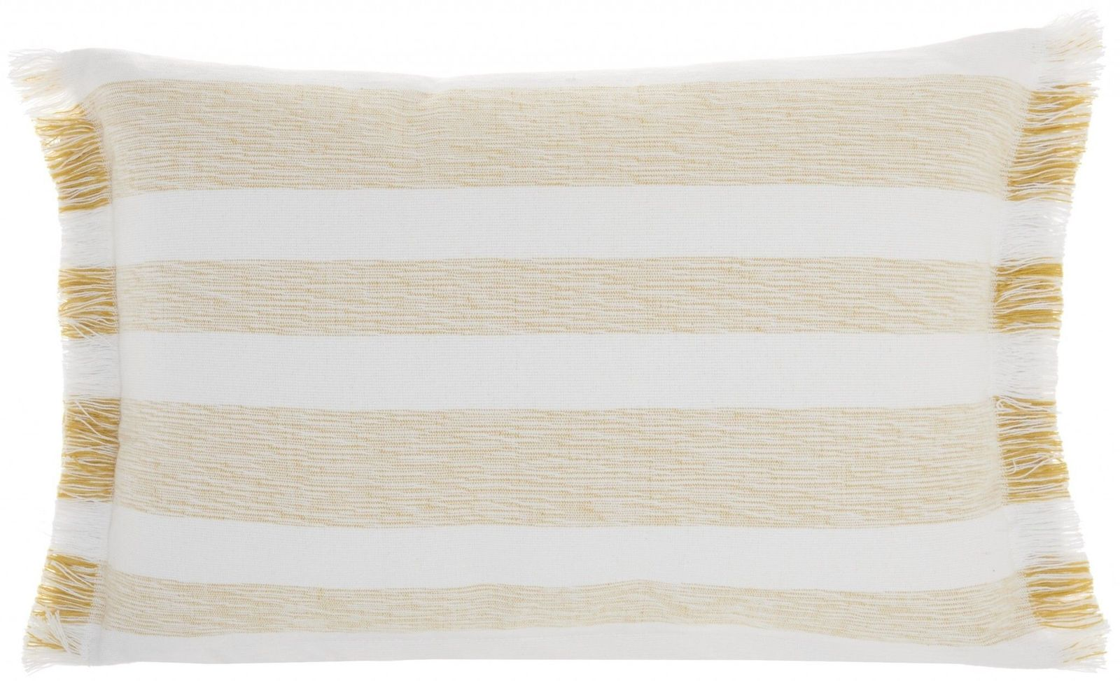Yellow and white Stripes Lumbar Throw Pillow - $32.17