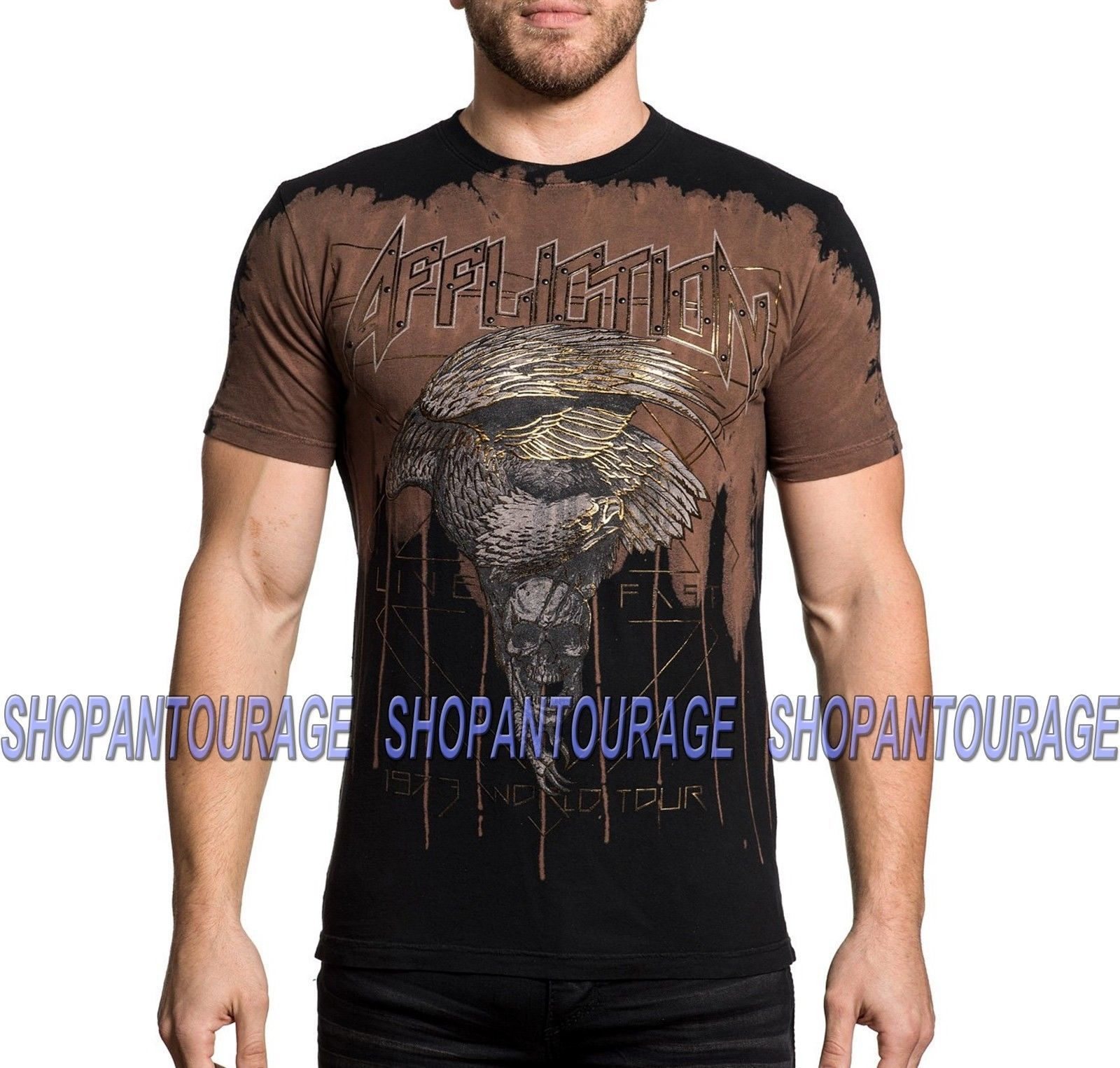 Primary image for Affliction Eagle Rock A18786 New Short Sleeve Fashion Graphic T-shirt For Men