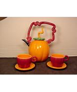 Nielsen Art Pottery Pumpkin Teapot Coffee Pot 2 cupsThanksgiving Fall Ha... - $39.11