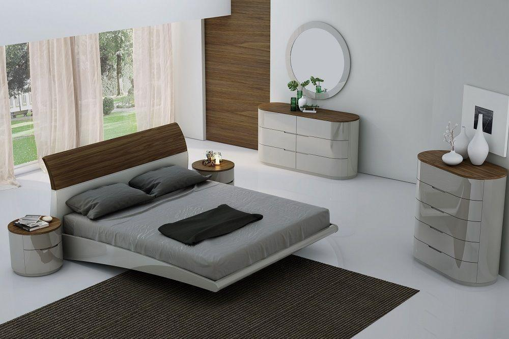 J&M Amsterdam Ultra Modern Walnut Light Grey Lacquered King Size Bedroom Set 3Pc