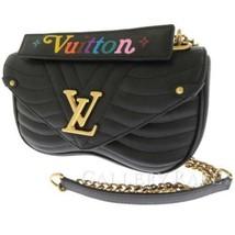 LOUIS VUITTON New Wave Chain Bag MM Calf Noir Shoulder Bag M51498 Authentic - $2,348.25