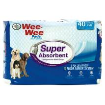"""Four Paws Wee-Wee Super Absorbent Pads 40 count White 24"""" x 24"""" x 0.1"""" - $16.99"""