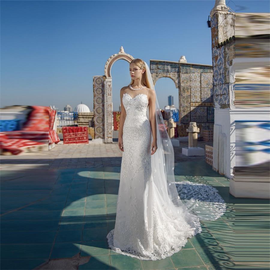 Mariage spring o neck lace appliques mermaid wedding dresses sleeveless custom made natural slim