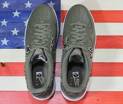 Nike Air Force 1 One Low AOP Basketball Shoes Olive-Green/White [AQ4131-200]- 13 image 11