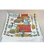 Vintage 1970s Country Linen Kitchen Towel Duck Crowley's Needle Box Cat ... - $18.32