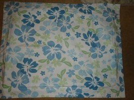 Set of 2 Pottery Barn Teen Blue Hibiscus Flower Standard Shams Linen - $27.76