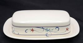 Mikasa Intaglio Annette * BUTTER DISH & LID * Blue Swirls, Red Flowers, ... - $19.79