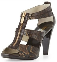 Women's Michael Kors BERKLEY T-STRAP Platform Gladiator Heels Chocolate ... - $71.99