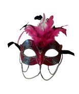 Hot Pink and Silver w Chains Venetian Masquerade Mask Feathers Small - $9.49